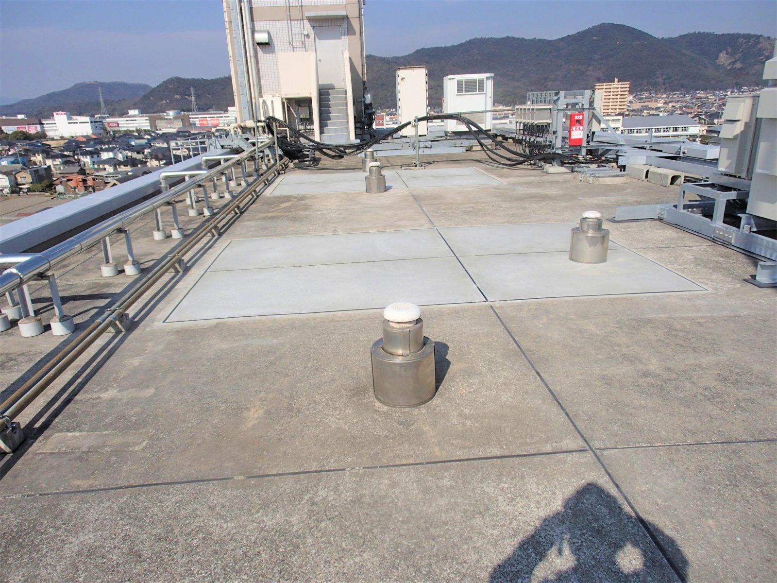 基礎撤去後に防水処理の完了状態